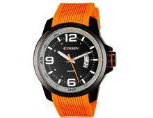 Relógio Masculino Curren 8174 Quartzo Preto Pulseira Silicone Laranja Impermeável