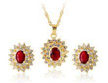 Conjunto Colar e Brincos Ouro Italiano com Cristal e Pedra Vermelha