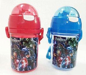 Garrafa de Água Plástico Chaleira com Tampa 400mL Avengers