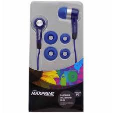 Fone De Ouvido Earphone, Estéreo, Azul 6011482 - Maxsound