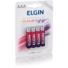 Pilha Recarregável Elgin AAA - Blister 1000 Mah c/ 4 Cod.