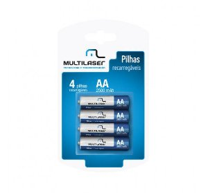 Pilhas AA Recarregaveis 2500 Multilaser Pack C 4