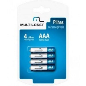Pilhas AAA Recarregaveis 1000 Multilaser Pack C 4