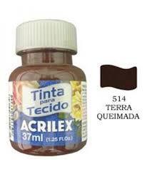 TINTA TERRA QUEIMADA P/TECIDO ACRILEX  POTE 37ML
