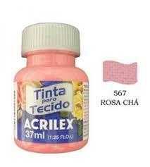 TINTA ROSA CHÁ P/TECIDO ACRILEX POTE 37ML