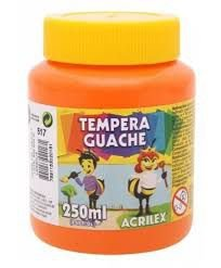TINTA TEMPERA GUACHE 250ML ACRILEX LARANJA