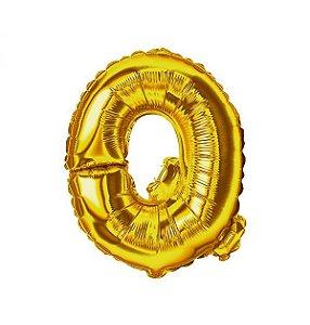 "BALAO METALIZADO 14"" DOURADO LETRA ""Q"""