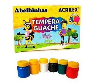 TINTA GUACHE 6 CORES ACRILEX ESCOLAR