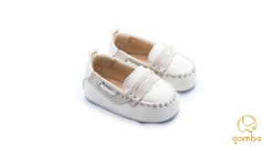 MOCASSIM BABY COURO GELO/OFF WHITE