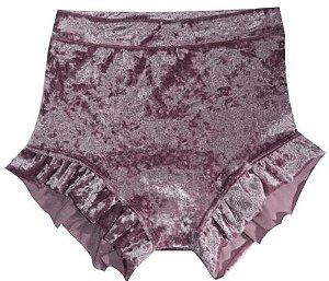 Shorts babado em veludo rosa