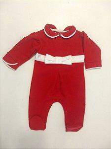 Macacão bebê vermelho com laço cetim marfim