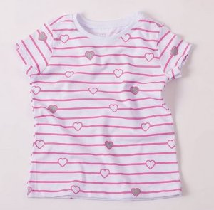 T-Shirt listras com corações