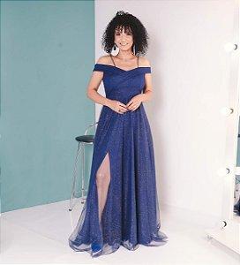 Vestido Noite Intensa Com Tule de Brilho Azul Marinho