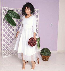 Vestido Clara Midi Branco Intenso