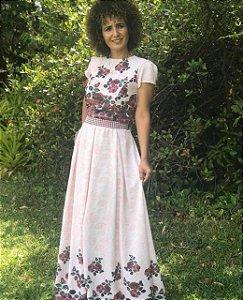 Vestido Rose Longo Com Cinto