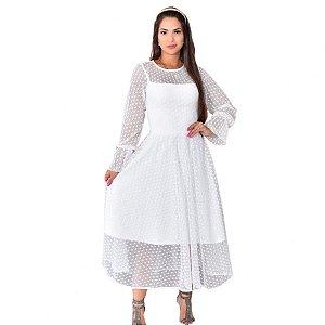 Vestido  Julie Tule Branco Bolinhas Longuete