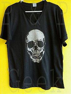 Camiseta Caveira Gola V