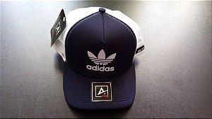 Boné Adidas Trucker - Aba Curva - Azul e Branco