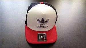 Boné Adidas Trucker - Aba Curva - Vermelho e Branco