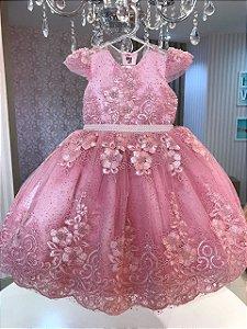 Vestido em Renda com Tule Glitter