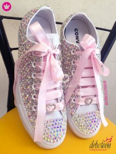 All Star Customizado com Cristais Rosa e Furtacor