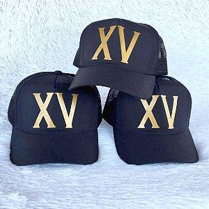 Bonés Personalizados XV para festa (10 Unidades)