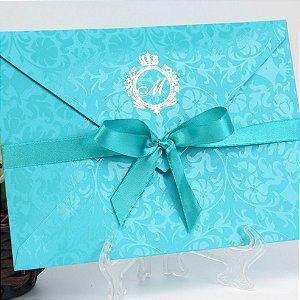 Convite azul tifanny para festa (40 unidades)