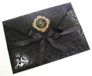 Convite preto verniz floral para festa (40 unidades)