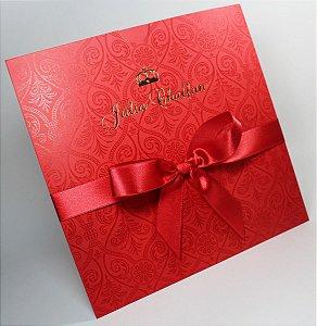 Convite floral verniz vermelho e dourado para festa (40 unidades)