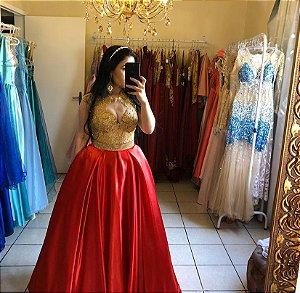 Vestido dois em um vermelho e dourado para festa