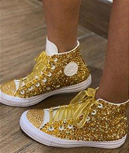 Tênis Personalizado All Star com cristal Swarovski Dourado