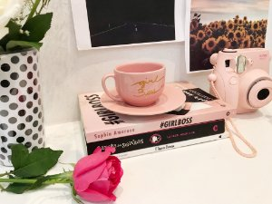 Xícara e Pires Coleção Pink Já - Girl Boss
