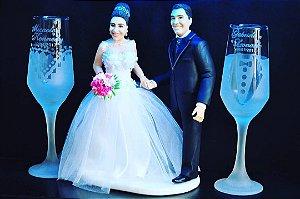 Par de Taça champanhe terno e vestido