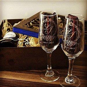 Taça de champanhe Bistrô Personalizada com  Jato+Dourado