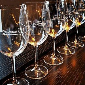 Taça de vinho Cristal com Titânio 580 ml Lapidada
