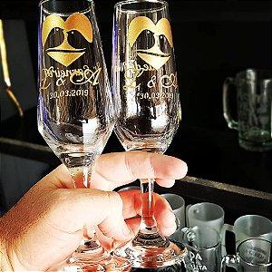 Taça de champanhe Bistrô - Vidro - Personalizada (DOURADO)
