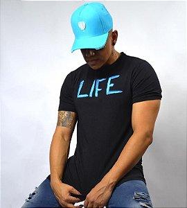 Camiseta Preta elastano com algodão Life