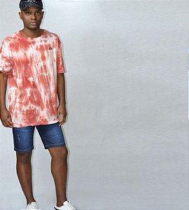 Camiseta tie dye pré lavada e amaciada vermelha