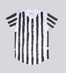 Camiseta longline branca listrada