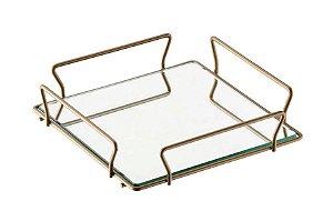 Schmitt Aramados - Bandeja Bromelia Quadrada Grande 20 x 4,5 cm - Dourado