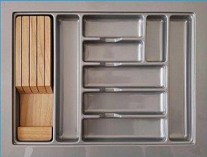 MoldPlast - Organizador de Gaveta 65 x 49,5 cm Cinza 2,0mm c/ Faqueiro  - OG-148