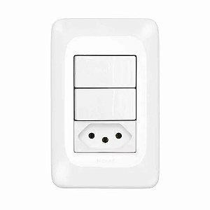 Legrand - 2 Interruptores Simples + 1 Tomada 2P+T 10A 4x2 - PIAL PoP