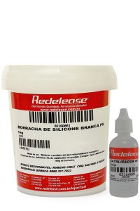 Redelease - Borracha de Silicone Branca (1kg) + Catalisador PS-1 (30g) - Alta Flexibilidade