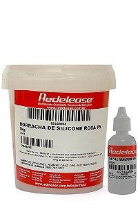 Redelease - Borracha de Silicone Rosa (1kg) + Catalisador PS-1 (30g) - Média Flexibilidade