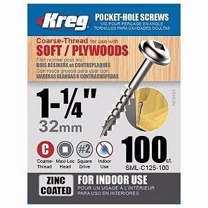 "Kreg Jig - Parafuso  1.1/4"" - 32mm Rosca Grossa [SML-C125-100]"