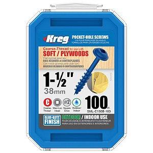 "Kreg Jig - Parafuso  1.1/2"" - 38mm Rosca Grossa [SML-C150B-100]"