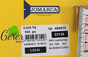 Parafuso Bicromatizado Cabeça Chata PHS Phillips 3,5 X 30 mm (500 PÇs) - JOMARCA 03124