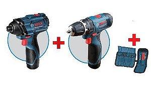 Kit - Parafusadeira Impacto + Furadeira a bateria (Combo: GDR + GSB) LI - Bosch