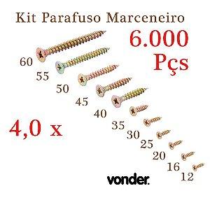 VONDER Parafuso Madeira 4,0 x Todos N.º (6.000 Pçs)