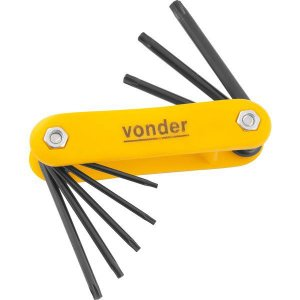 VONDER - Jogo de chaves Hexalobular, T9 a T40, com 8 peças
